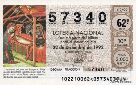 Décimo de Lotería 1992 / 102