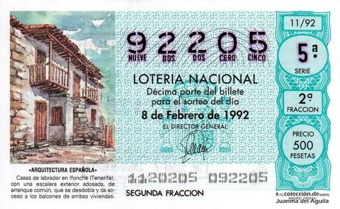 Décimo de Lotería 1992 / 11