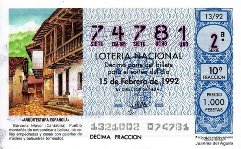 Décimo de Lotería 1992 / 13
