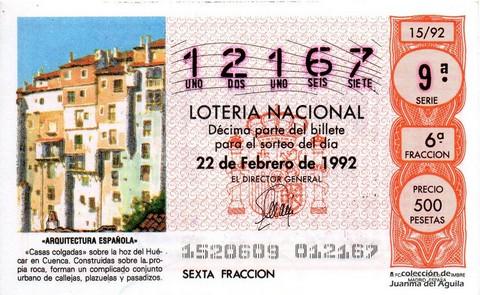 Décimo de Lotería 1992 / 15