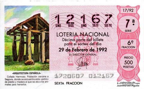 Décimo de Lotería 1992 / 17