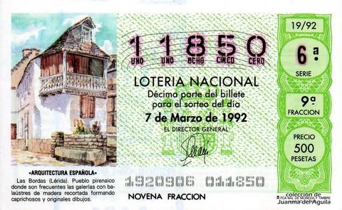Décimo de Lotería 1992 / 19