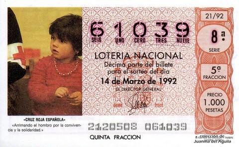 Décimo de Lotería 1992 / 21
