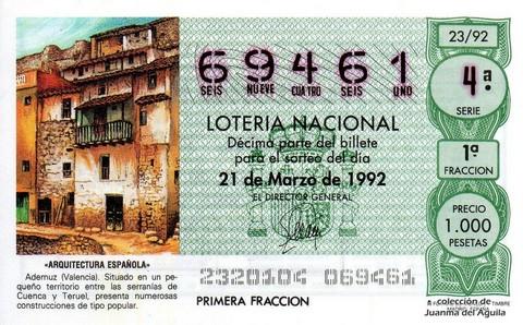 Décimo de Lotería 1992 / 23