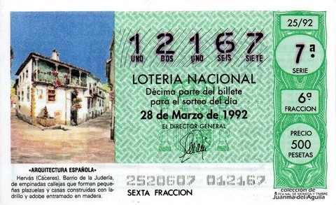 Décimo de Lotería 1992 / 25