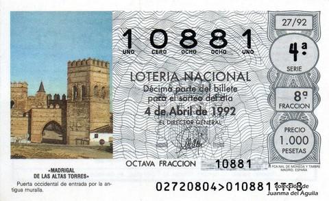 Décimo de Lotería 1992 / 27