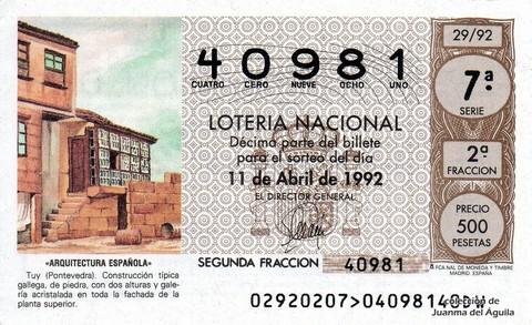 Décimo de Lotería 1992 / 29