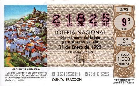 Décimo de Lotería 1992 / 3