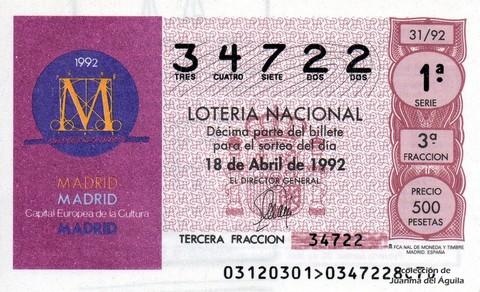 Décimo de Lotería 1992 / 31