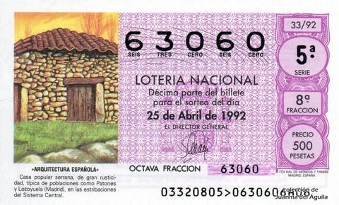 Décimo de Lotería 1992 / 33