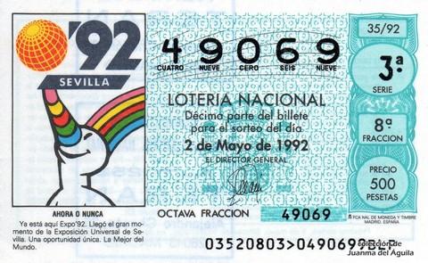 Décimo de Lotería 1992 / 35