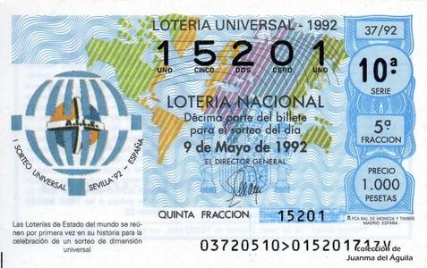 Décimo de Lotería 1992 / 37