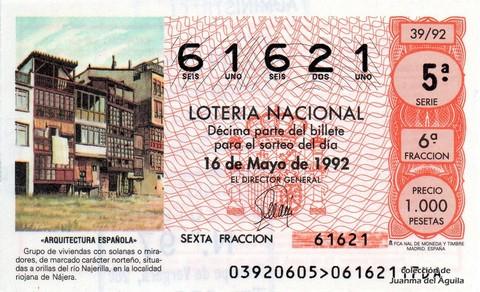 Décimo de Lotería 1992 / 39