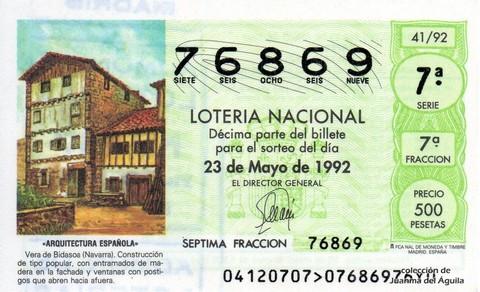 Décimo de Lotería 1992 / 41