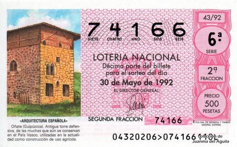 Décimo de Lotería 1992 / 43
