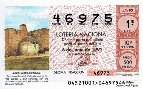Décimo de Lotería 1992 / 45