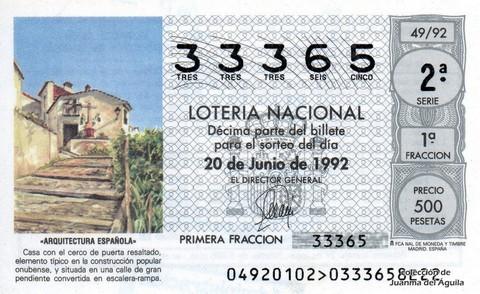 Décimo de Lotería 1992 / 49