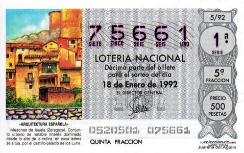 Décimo de Lotería 1992 / 5