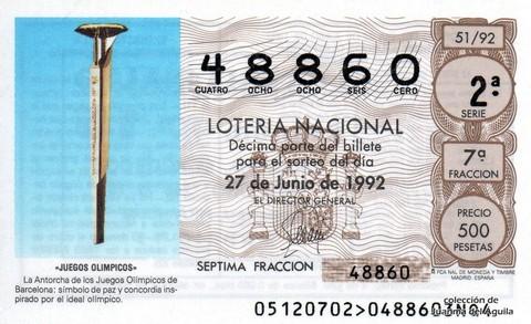 Décimo de Lotería 1992 / 51