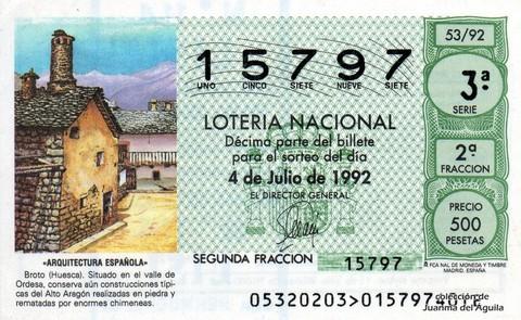 Décimo de Lotería 1992 / 53
