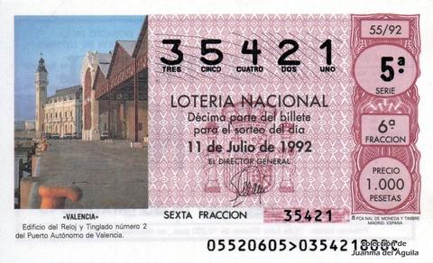 Décimo de Lotería 1992 / 55