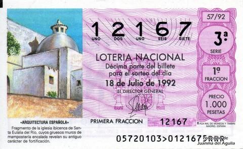 Décimo de Lotería 1992 / 57