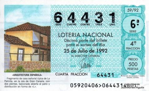 Décimo de Lotería 1992 / 59