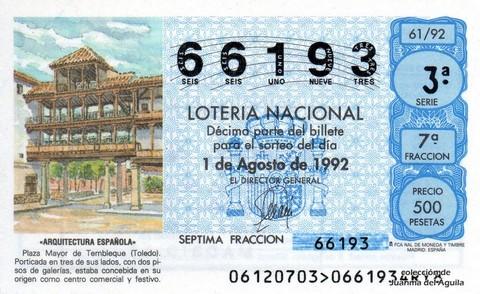 Décimo de Lotería 1992 / 61