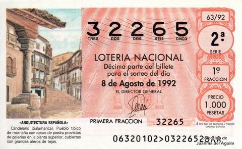 Décimo de Lotería 1992 / 63