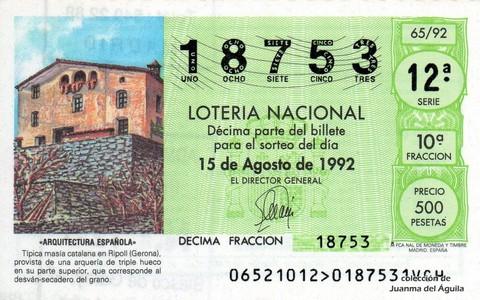 Décimo de Lotería 1992 / 65