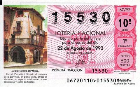 Décimo de Lotería 1992 / 67