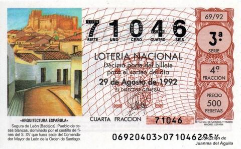Décimo de Lotería 1992 / 69