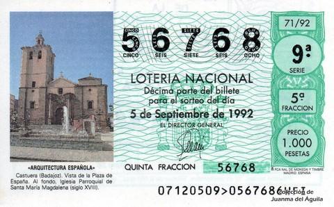 Décimo de Lotería 1992 / 71