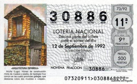Décimo de Lotería 1992 / 73