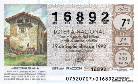 Décimo de Lotería 1992 / 75
