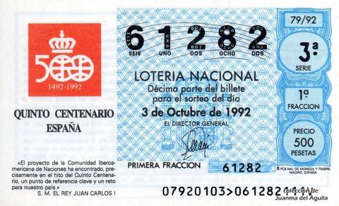 Décimo de Lotería 1992 / 79