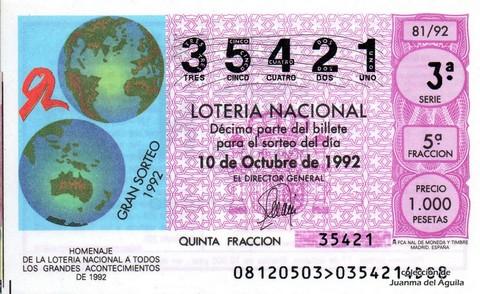 Décimo de Lotería 1992 / 81