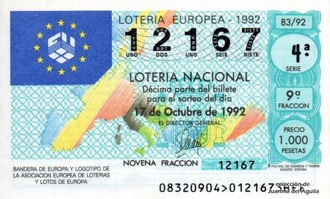 Décimo de Lotería 1992 / 83