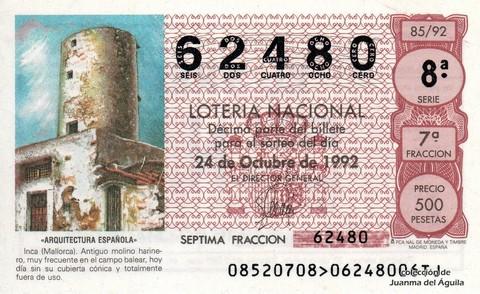 Décimo de Lotería 1992 / 85