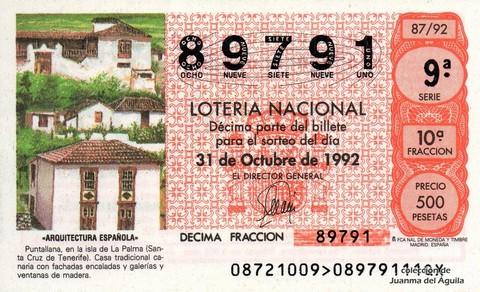 Décimo de Lotería 1992 / 87