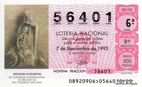 Décimo de Lotería 1992 / 89