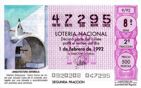 Décimo de Lotería 1992 / 9