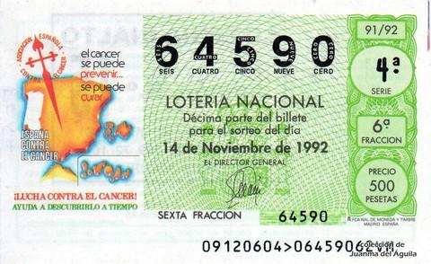 Décimo de Lotería 1992 / 91
