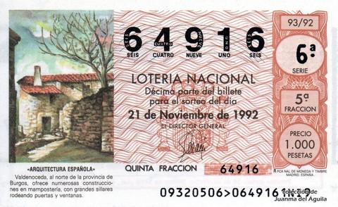Décimo de Lotería 1992 / 93