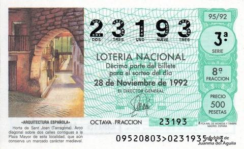 Décimo de Lotería 1992 / 95