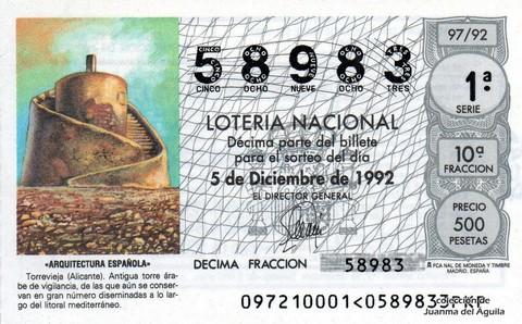 Décimo de Lotería 1992 / 97