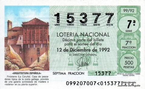 Décimo de Lotería 1992 / 99