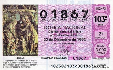 Décimo de Lotería 1993 / 102