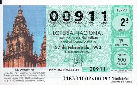 Décimo de Lotería 1993 / 18