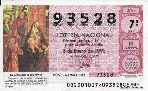 Décimo de Lotería 1993 / 2
